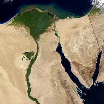 Vue satellite de l'Egypte